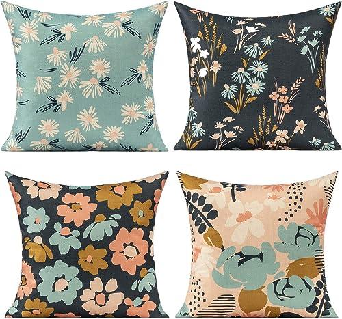 VAKADO Outdoor Patio Furniture Throw Pillow Covers Spring Garden Flower Bench Floral Plants Colorful Cushion Cases Modern Daisy Decorative Home Decor - a good cheap outdoor chair cushion