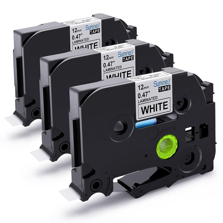 5 x BROTHER COMPATIBLE 12mm PT1000//PT1290 BLACK//WHITE LABEL TAPE TZ231