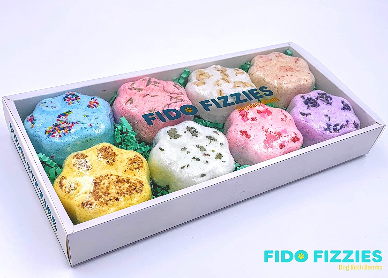 Fido Fizzies Luxury Bath Bombs for Dogs Variety Dog Gift Pack Assortment of Eight (8) of Our Most Popular Individual Dog Bath Bomb Varieties