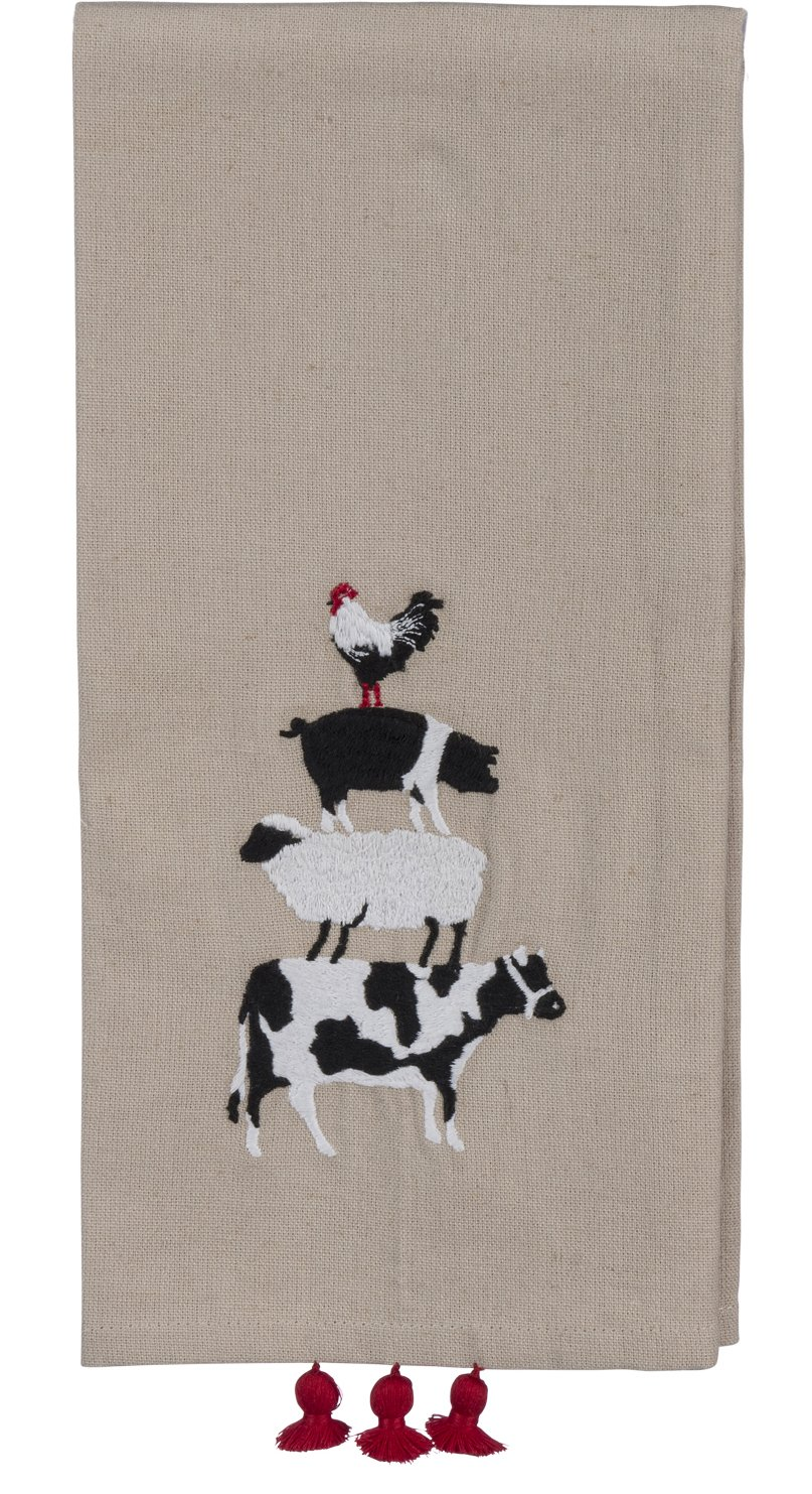 Primitives by Kathy Farm Animals Kitchen Towel - Embroidered Balancing Rooster, Pig, Sheep, Cow - 20'' x 26'' Premium Cotton/Linen Dishtowel with Tassel Accents - 2018 Farmhouse Collection