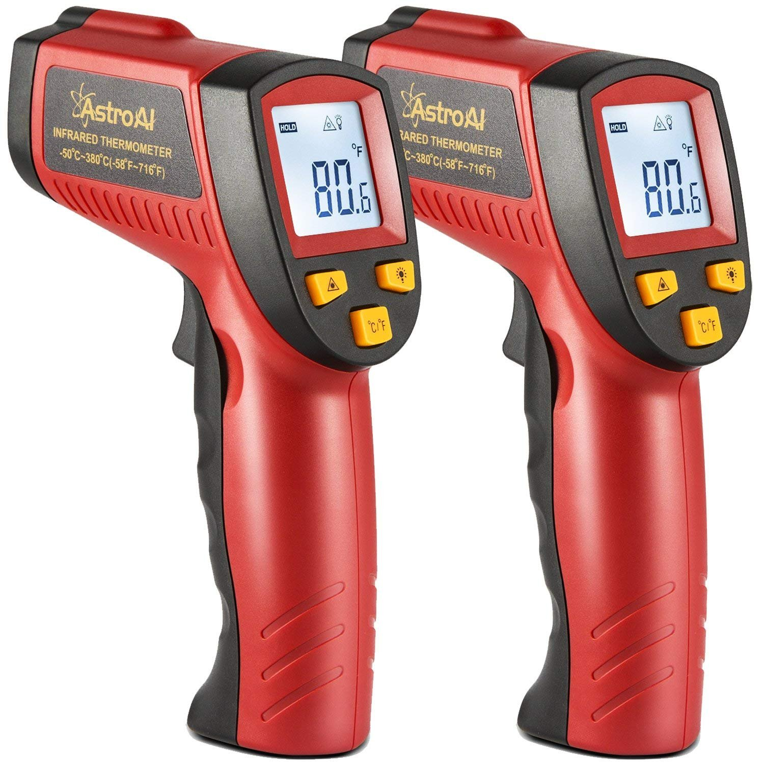 AstroAI 2 Pack Digital Laser Infrared Thermometer, 380 Non-Contact Temperature Gun with Range of -58℉~716℉ (-50℃~380℃), Red
