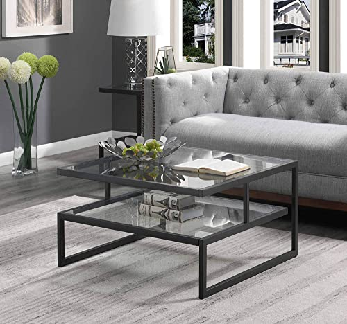Convenience Concepts Royal Crest Stripes Coffee Table, Clear Glass Charcoal Gray