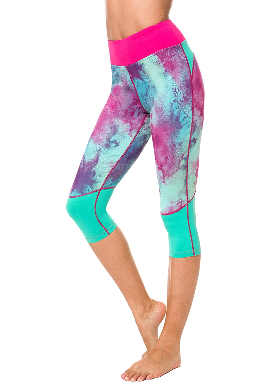 Neonysweets – pantalones de Yoga elásticos capri de entrenamiento activo con estampado