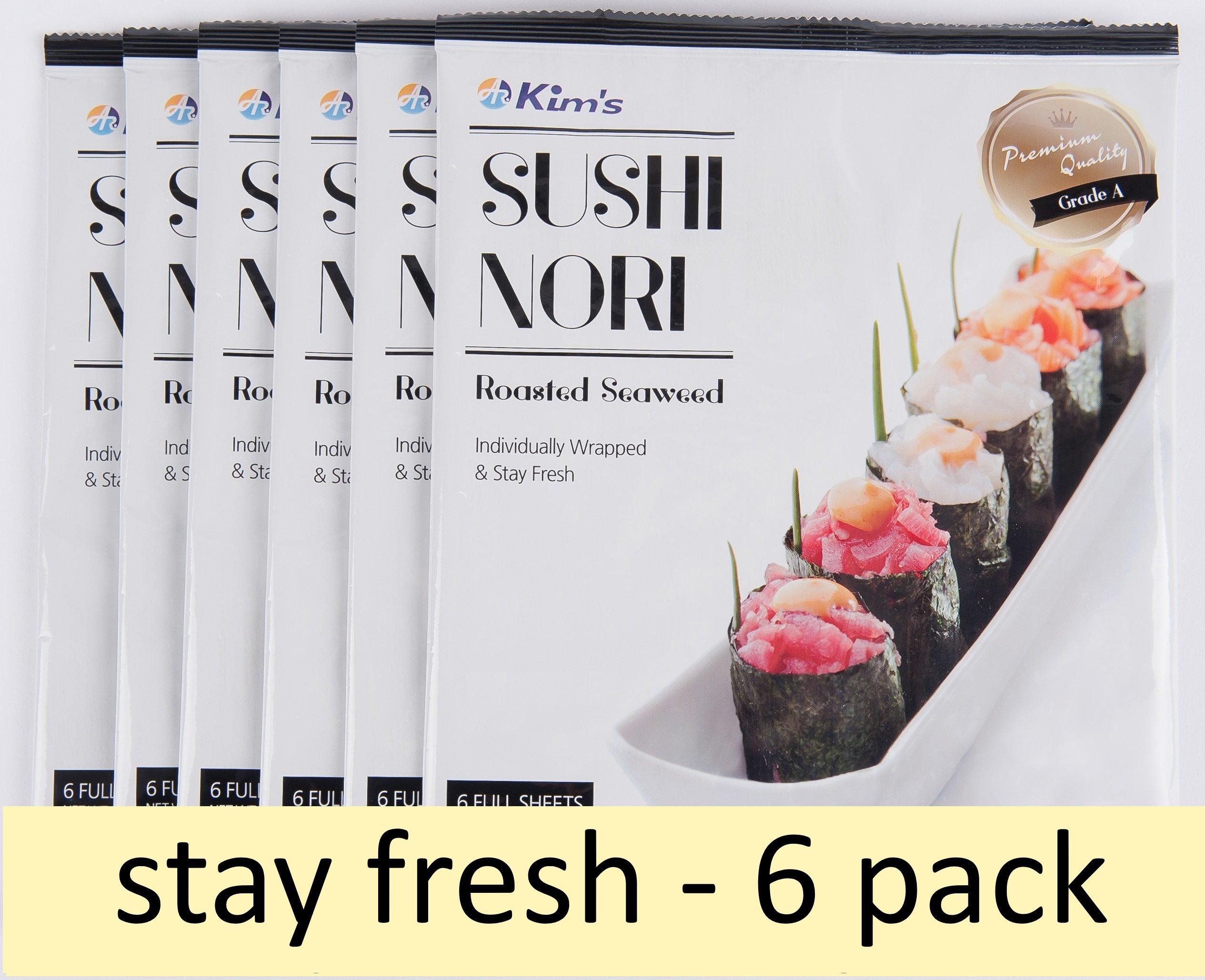 Kim's Premium Sushi Nori Roasted Seaweed (6 full sheets x 6 packs). Individually wrapped and stay fresh