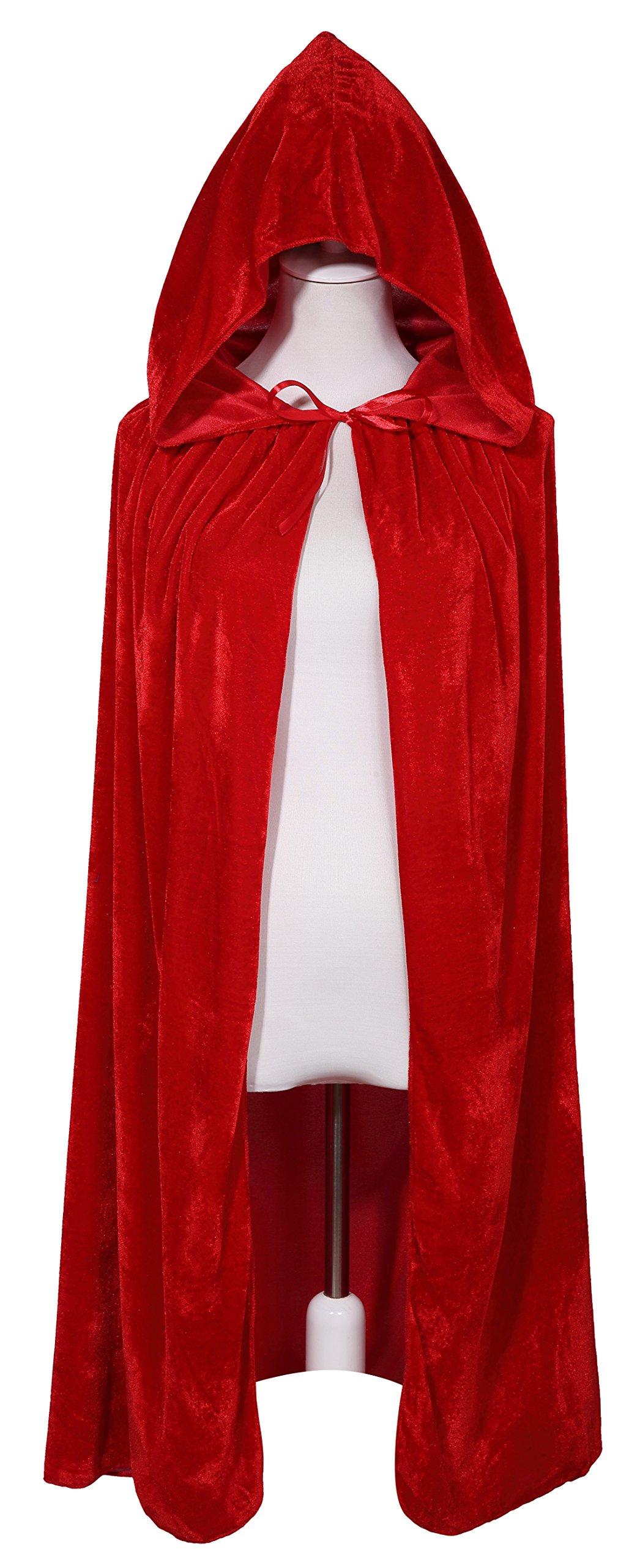 BIGXIAN Kids Hooded Velvet Cloak Halloween Christmas Fancy Cape for Kids (Red)