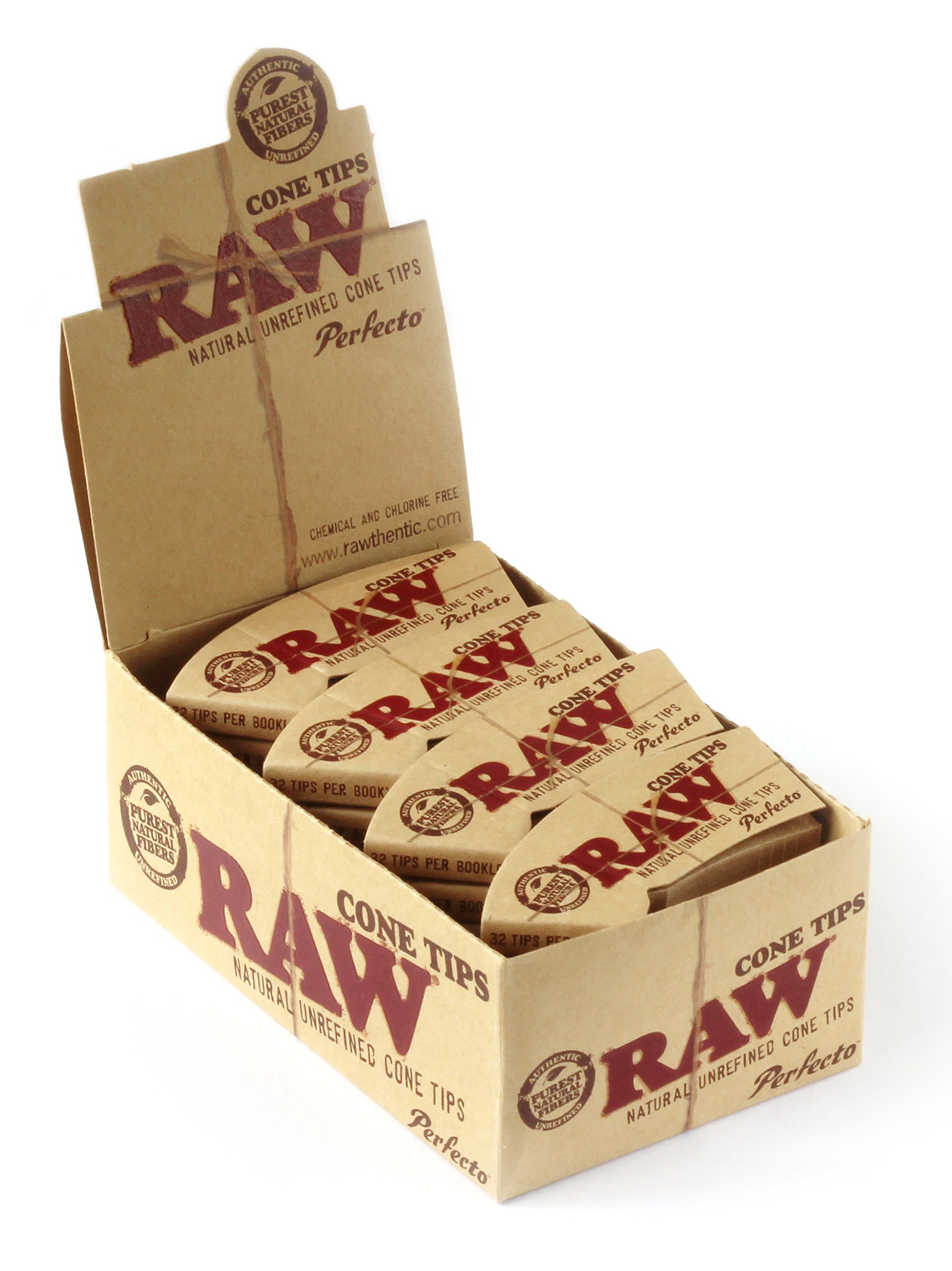 Raw Rolling Paper Perfecto Cone Tips Full Box Of 24 Packs