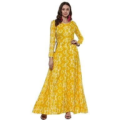 d095ccffee Indian Virasat Women's Anarkali Maxi Dress: Amazon.in: Clothing ...