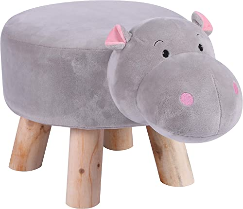 LITTLE POPI, Children s Favorite Animal Ottoman, Kids Footrest Stool, Plush Ride on Seat, Removable and Washable Cover, Child-Safe D cor, CPSC Approved, Cute Sturdy Chair for Kids Grey