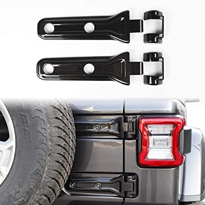 Car Spare Tire Tailgate Door Hinge Covers Trim Stickers for Jeep Wrangler JL 2020 Up (Carbon Fiber): Automotive