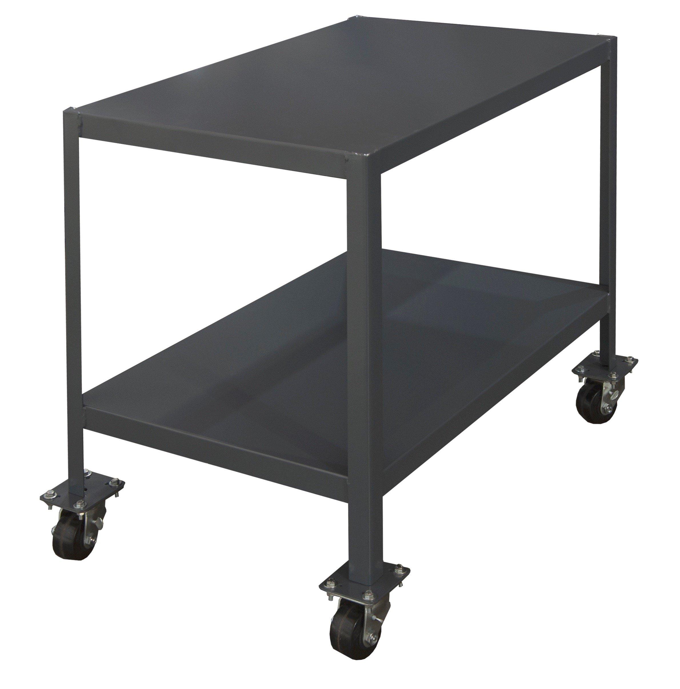 Durham Steel Mobile Medium Duty Machine Table, MTM243630-2K295, 2 Shelves, 2000 lbs Capacity, 36'' Length x 24'' Width x 30'' Height