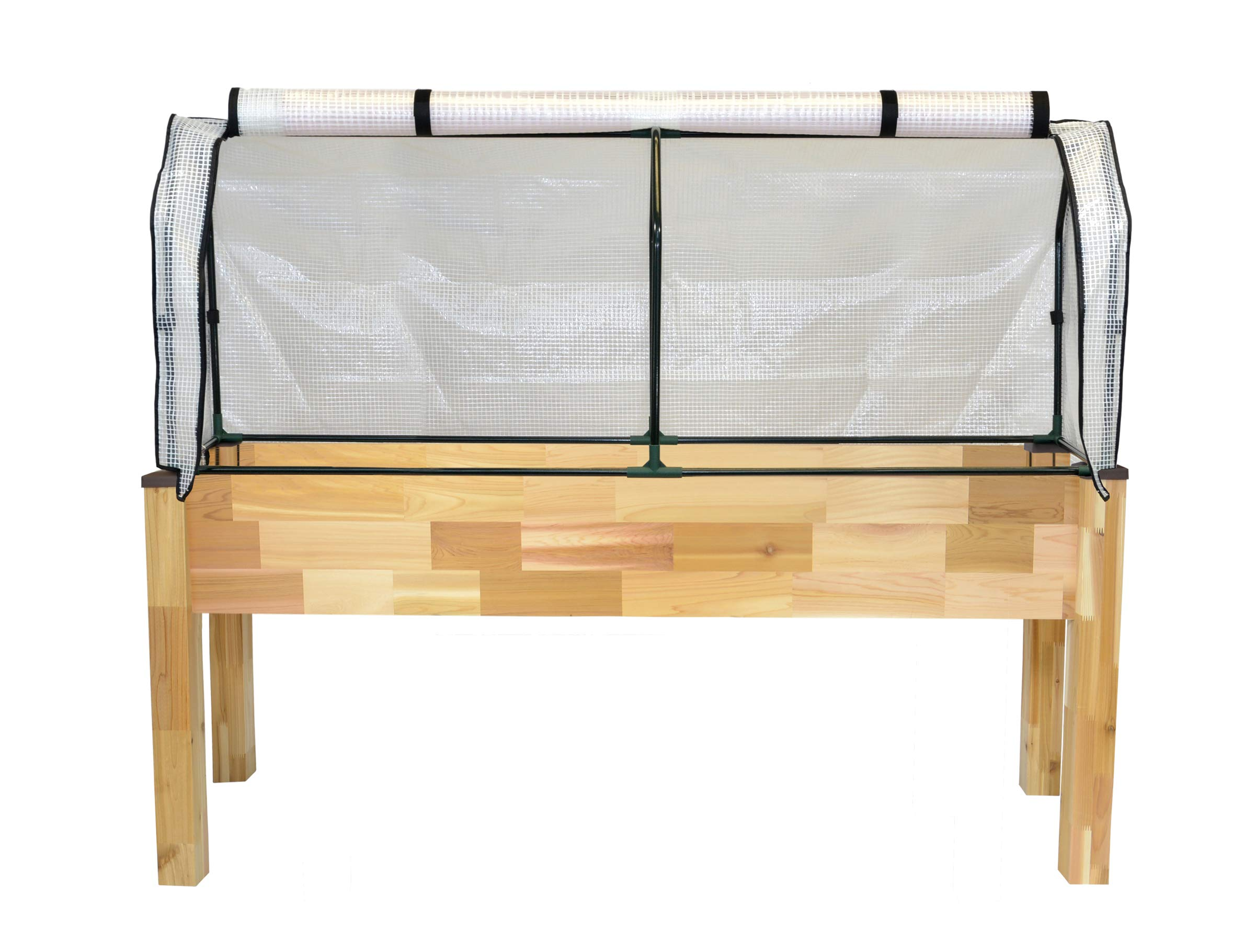"""CedarCraft Elevated Cedar Planter (23"""" x 72"""" x 30''H) + Greenhouse Cover - Complete Raised Garden kit to Grow Tomatoes, Veggies & Herbs. Greenhouse extends Growing Season, Protects Plants"""