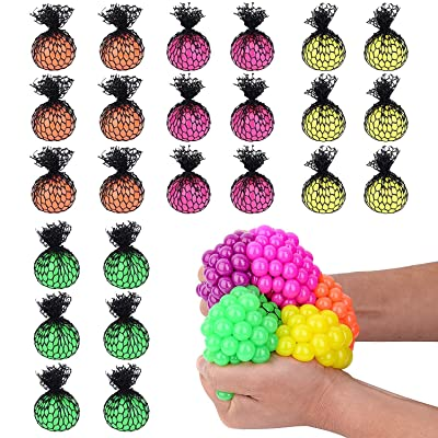 "Totem World 24 Colorful Sewn Mesh Stress Balls - 2.4"" Squishy Fidget Toy Perfect for Kids and Adults Materials for Lasting Use - Squeeze Balls for Anxiety and Concentration - Great Party Favors: Toys & Games"