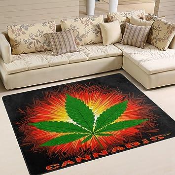 ALAZA Funny Marijuana Leaf Word Cannabis Area Rug Rugs for Living Room  Bedroom 7\' x 5\'