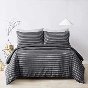 3 pc Striped Duvet Cover Queen Jersey Knit Bedding 100% Washed Microfiber 1 Duvet Cover 90