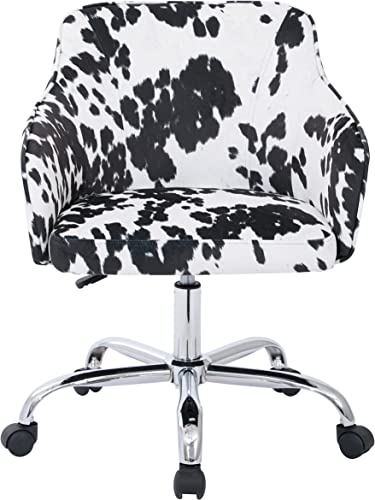 AVE SIX Bristol Chrome Base Upholstered Task Chair, Udder Madness Domino