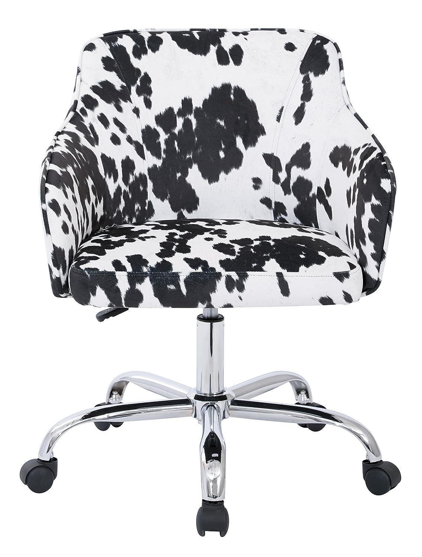 AVE SIX Bristol Chrome Base Upholstered Task Chair, Udder Madness Domino