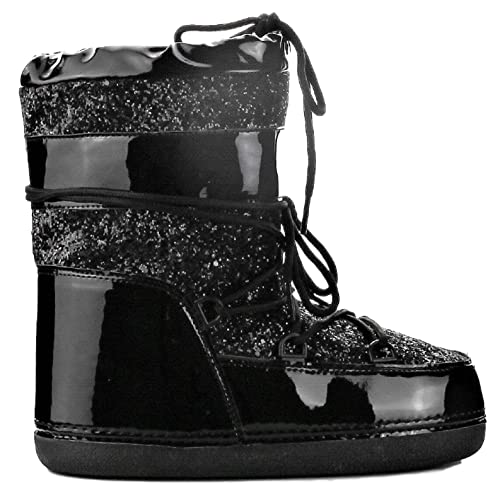 552993f5b3c3 CAPE ROBBIN MB-11 Women Ankle High Ski Snow Winter Lace Up Glitter Moon  Boots