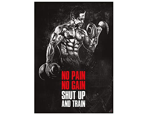 Great Art Póster Motivacional Para Entrenamiento 594x42cm Frases Fitness No Pain No Gain Shut Up And Train Nr8