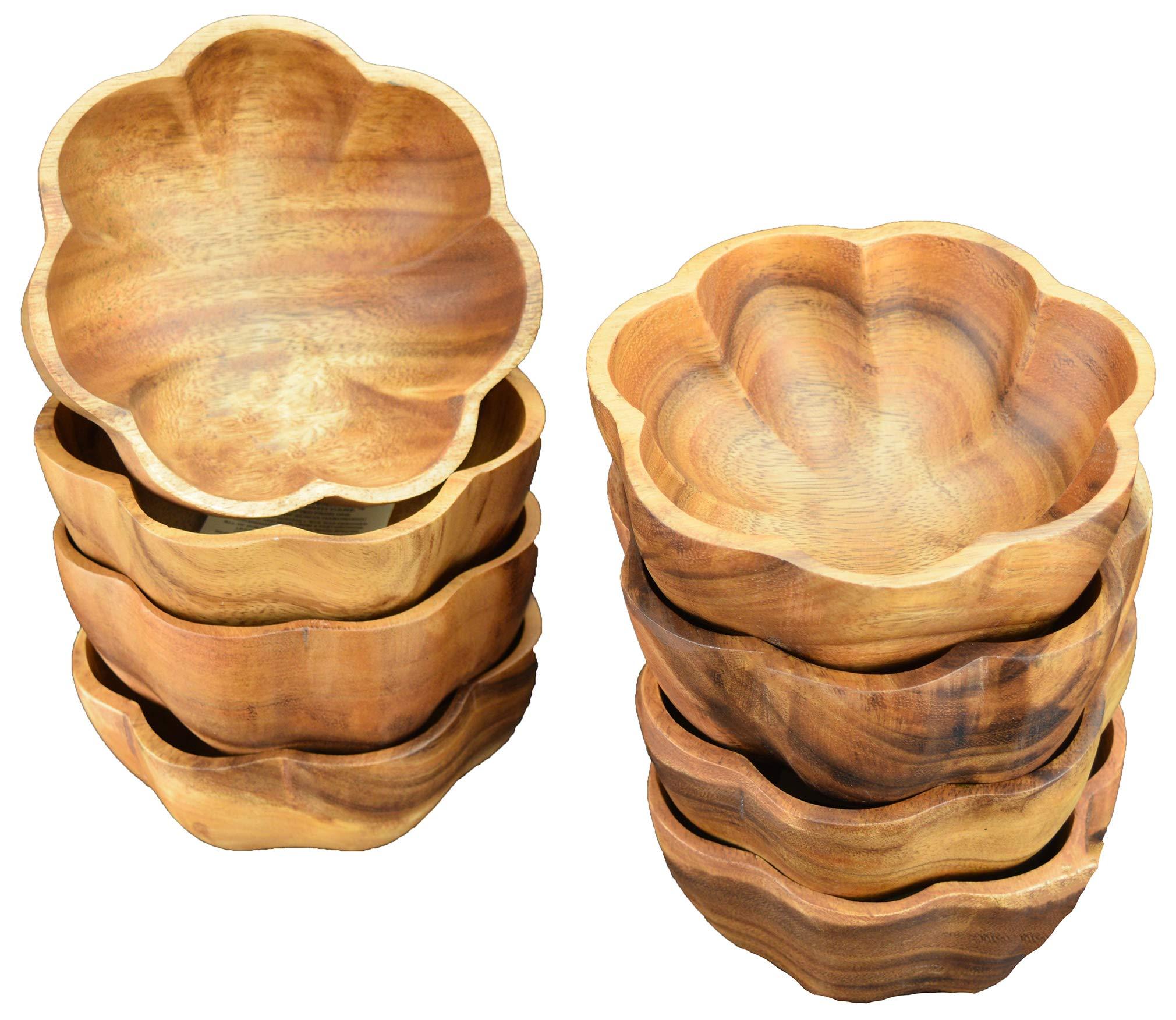 Acaciaware Acacia Wood Wavy/Flared Salad Bowls, Dipping and Nut Bowls, 6-inch D by 3-inch, Set of 8