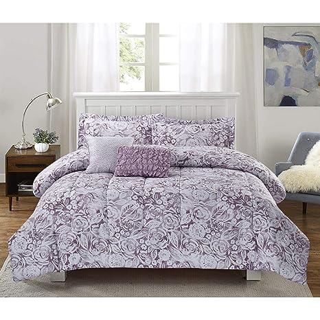 Amazon.com: MISC Juego de cama de 5 piezas, diseño de flores ...