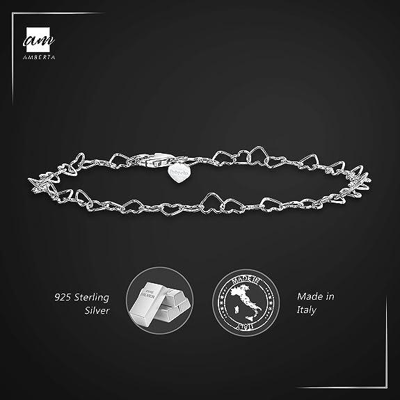 Bracelet de Cheville aux Maille Classique Cha/îne Argent 925//1000 R/églable 22 /à 25,5 cm Facilement Ajustable Amberta Bijoux