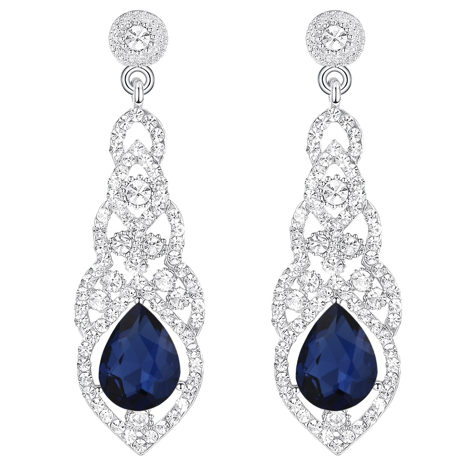 BriLove Women's Stylish Charming Crystal Art Deco Teardrop Chandelier Dangle Earrings 12001846-1ca