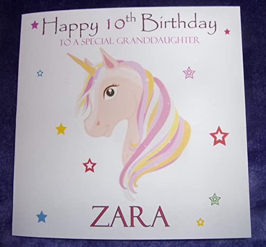 personalised unicorn head birthday card any age name relation 1st