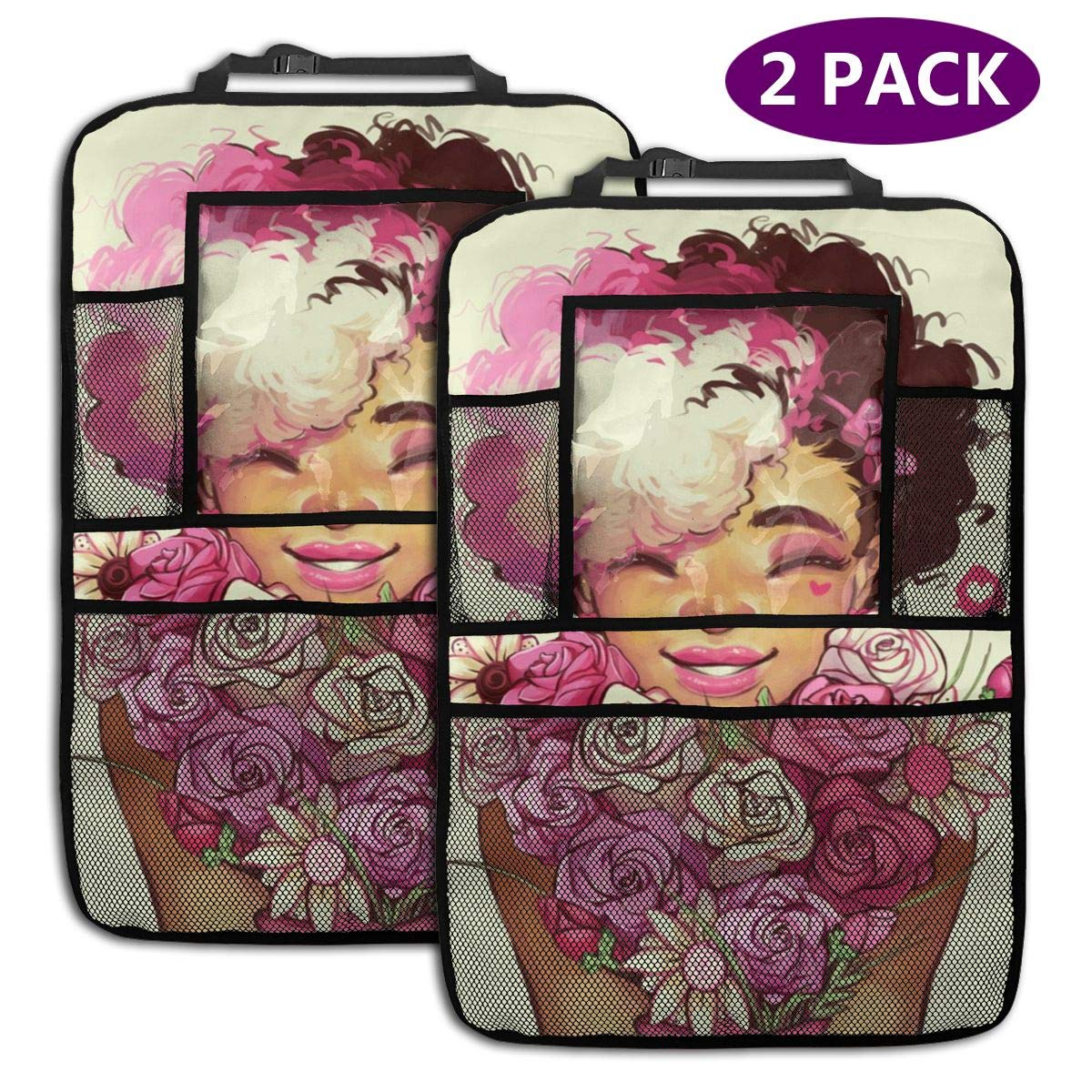 QF6FEICHAN Girl Receives Pink Roses Car Seat Back Protectors with Storage Pockets Kick Mats Accessories for Kids and Toddlers by QF6FEICHAN