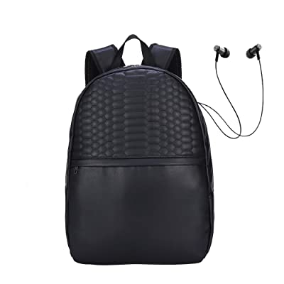 Anni Cozzi PU Black Backpack Lightweight with Headset Port Suitable for 15 Inches Laptop free shipping