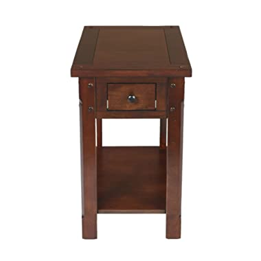 New Classic Furniture 30-706-23C Corsica Chairside Table, African Chestnut,