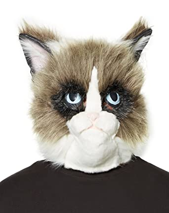 Amazon.com  Spirit Halloween Faux Fur Grumpy Cat Mask – Grumpy Cat  Clothing 831682350207