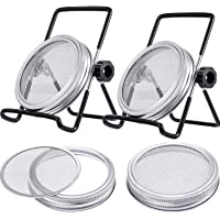 2 Pcs Stainless Steel Sprouting Jar Lids with 2 Pcs Stainless Steel Sprouting Stands for Regular/Wide Mouth Mason Jar