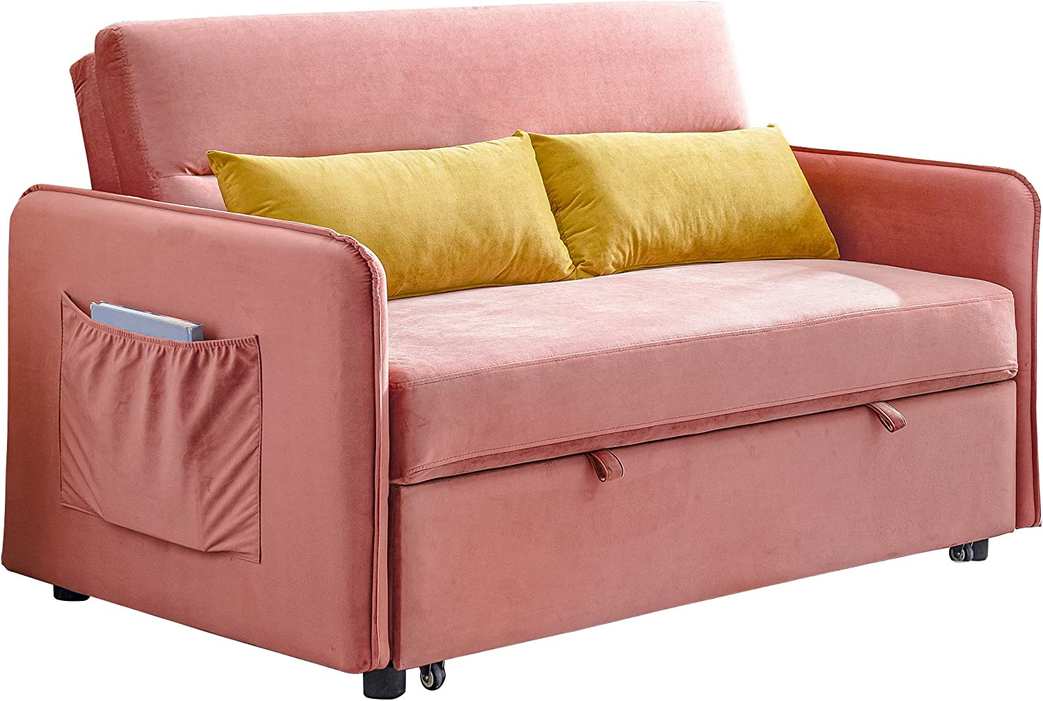 Merax Sleeper Couch Small Velvet Sofa for Living Room Or Bedroom Including Pull Out Bed and 2 Sofabed, Compact, Pink