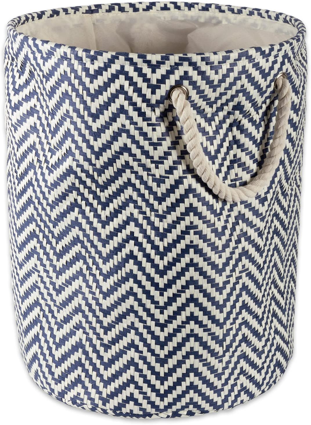 "DII Woven Paper Basket or Bin, Collapsible & Convenient Organization & Storage Solution for Your Home (Large Round - 15x20"") - Nautical Blue Chevron"