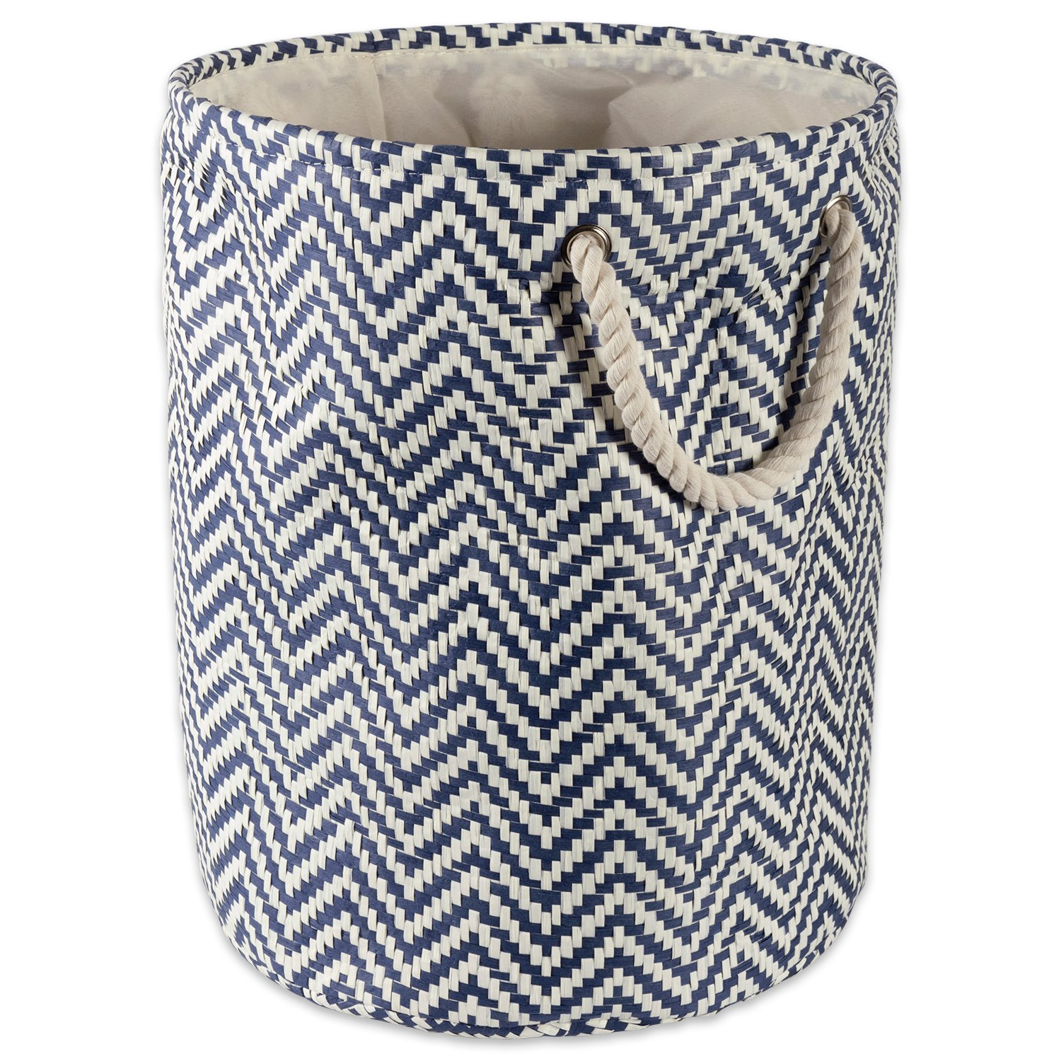 DII Woven Paper Basket or Bin, Collapsible & Convenient Organization & Storage Solution for Your Home (Large Round - 15x20) - Nautical Blue Chevron