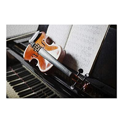 Classical Music Concept with a Violin on a Piano 9035821 (Premium 500 Piece Jigsaw Puzzle for Adults, 13x19, Made in USA!): Toys & Games