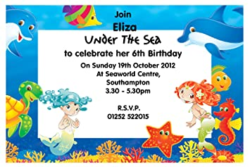 10 Personalised Under The Sea Party Invitations N70