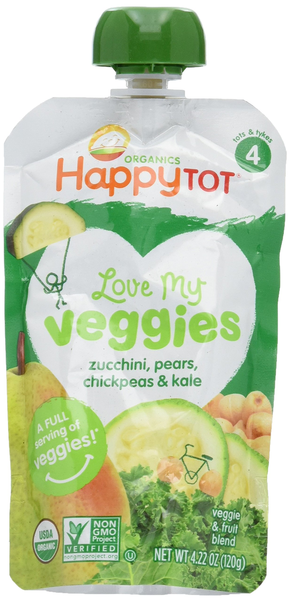 Happy Tot Organic Stage 4 Baby Food, Love My Veggies, Zucchini/Pear/Chickpeas & Kale, 4.2 Ounce (Pack of 16)