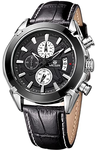 Megir Mens Sport Leather Watch Military Chronograph Analog Quartz Multifunction Wrist Watch