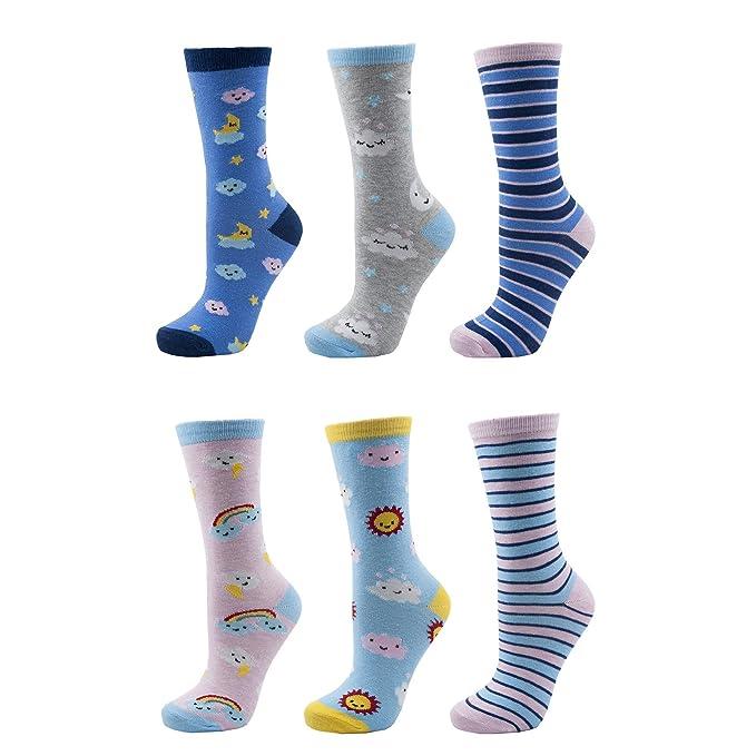 Calcetines de algodón 6 calcetines de algodón para mujer un tamaño (UK 4-7