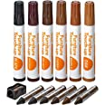 Katzco Furniture Repair Kit Wood Markers - Set of 13 - Markers and Wax Sticks with Sharpener - for Stains, Scratches, Floors,