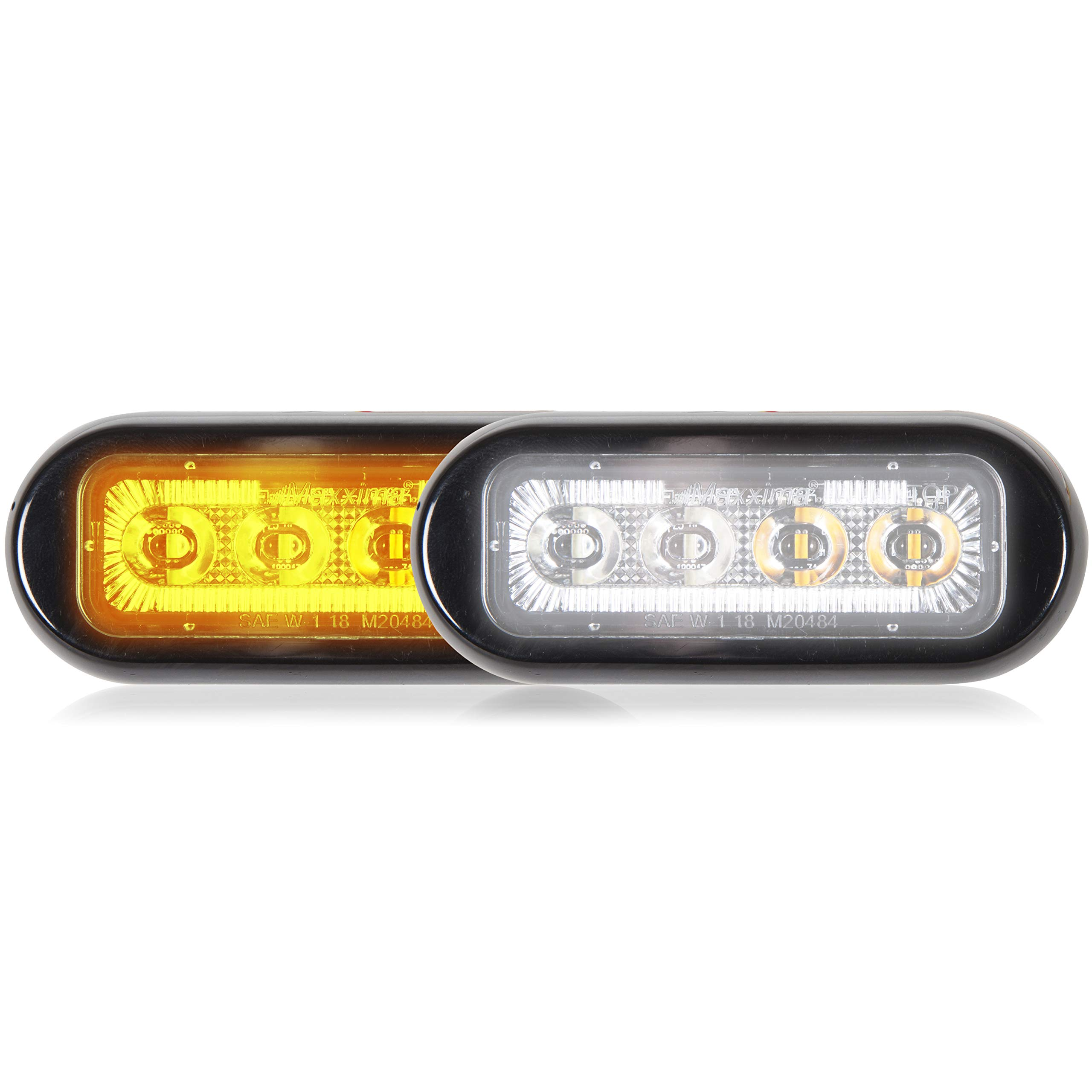 Maxxima M20484YWCL-DC 8 LED Rectangular Surface Mount Warning & Emergency Dual Color Amber/White Clear Lens
