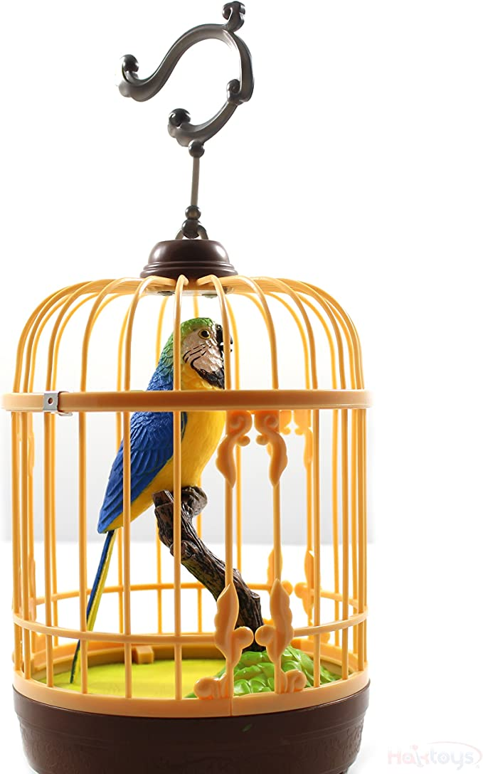 Realistic Singing /& Chirping Bird In a Cage Gift Set Desktop Display New