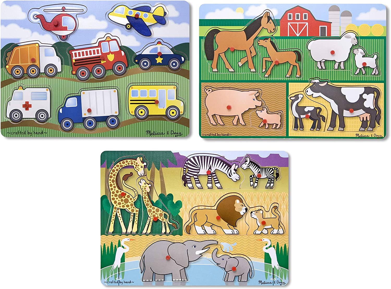 Melissa & Doug Wooden Peg Puzzles Set - Farm, Safari, and Vehicles: Toys & Games