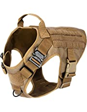 "ICEFANG Tactical Dog Harness,K9 Working Dog Vest,No Pull Front Leash Clip D-Ring,Hook and Loop Panel for ID Patch Snap-Proof (L (Chest 28""-35""), CB-2x Metal Buckle)"