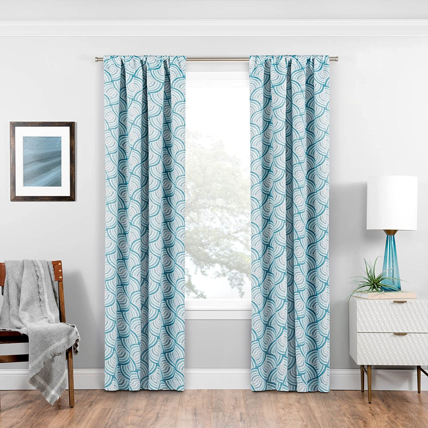 Eclipse 16428037084TEL Benchley Window Panel, Teal, 37x84 Ellery Homestyles