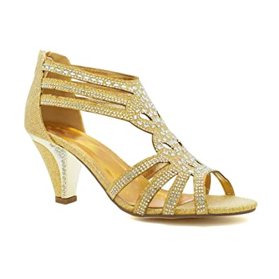 761ebd53959 New Ladies Diamante Mid Kitten Heel Womens Bridal Wedding Sandals Party  Prom UK  Amazon.co.uk  Shoes   Bags