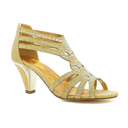 077384f46e0 New Ladies Diamante Mid Kitten Heel Womens Bridal Wedding Sandals Party  Prom UK  Amazon.co.uk  Shoes   Bags