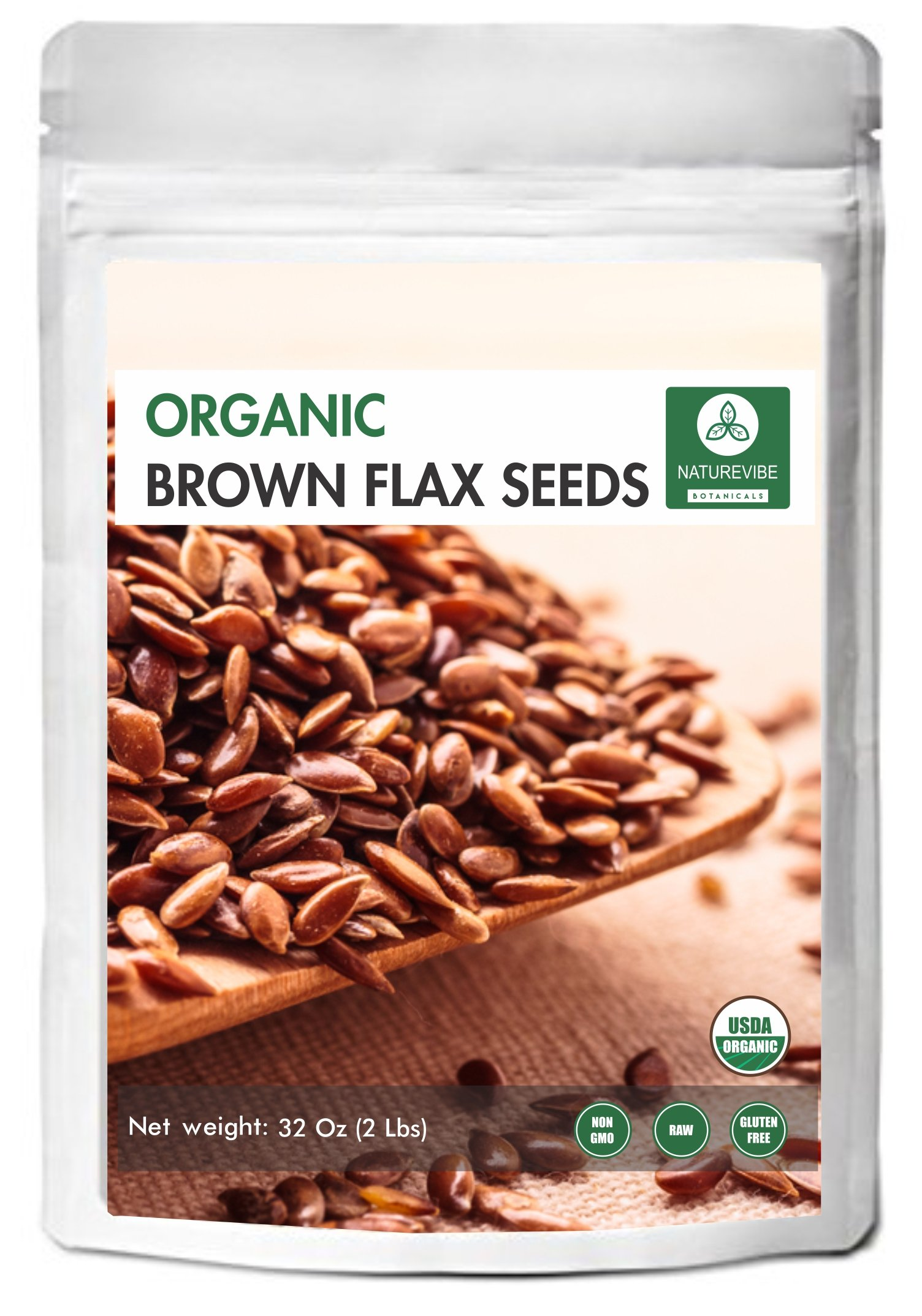Organic Brown Flax Seed (2lb) by Naturevibe Botanicals, Gluten-Free & Non-GMO (32 ounces) by Naturevibe Botanicals (Image #1)