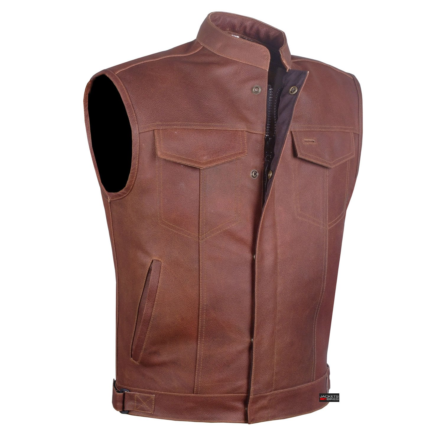 Men Armor Distress Brown Leather SOA Motorcycle Concealed Carry Club Vest S